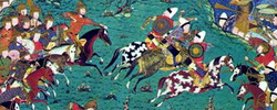 Depiction of the Battle of al-Qādisiyyah from a manuscript of the Persian epic Shāh-nāmeh.